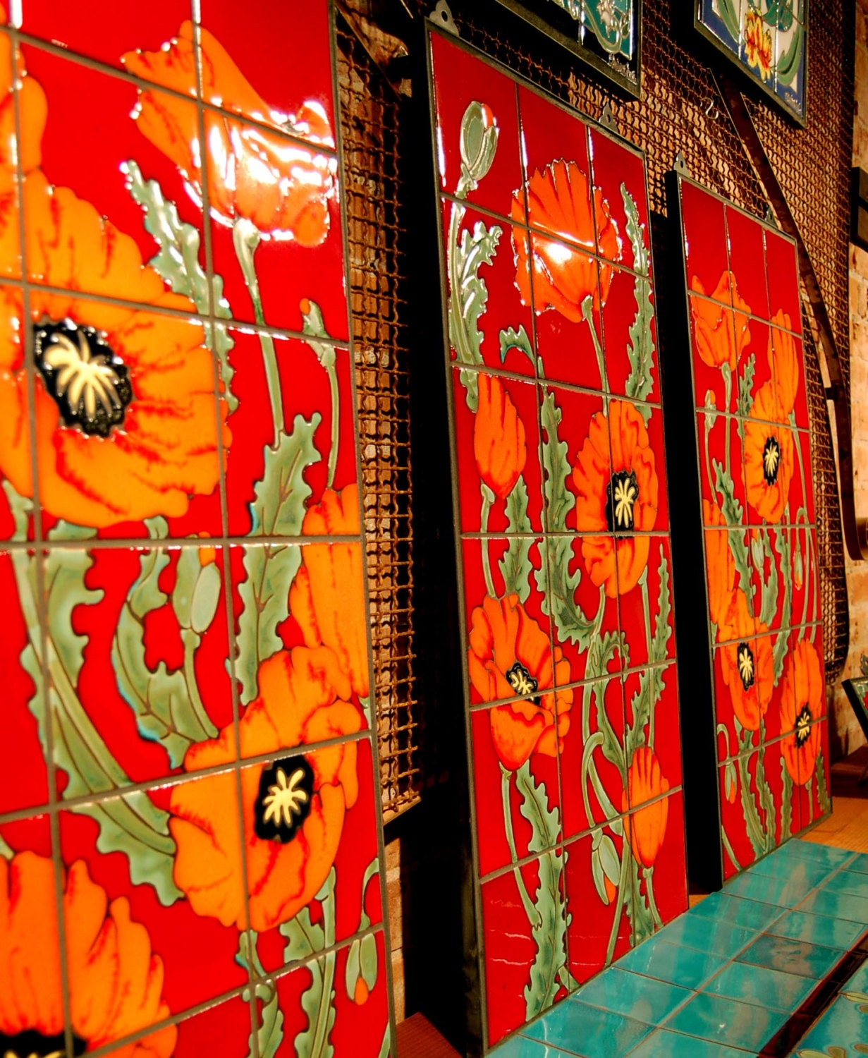 Red Amp Orange Poppies Hand Glazed Tile Mural Triptych