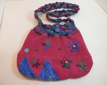 Re Style Knit Crochet Sweater Purse Vibrant Colors Fuchsia Navy Blue Upcycled Bag Sling Over Shoulder Cross Body Unique Urban Chic OOAK Gift