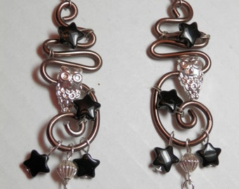 """3 1/2"""" OOAK Indie Style Earrings Silver Tone Woodsy Owl Charm Black Star Bead Pierce Swirl Wire Free Form Hand Designed Original Unique Gift"""