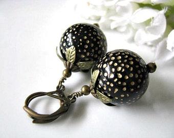 Etched Round Polka Dot Black Gold Beads Earrings, Black Dangle Drop Earrings