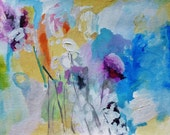 Float Away- Original Painting- 11x15, Fresh, colorful abstraction