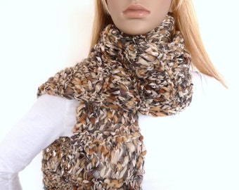 Hand Knit Chunky Scarf , Brown Knit Scarf , Hand knit Scarf