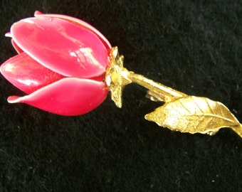 Vintage Pink Rosebud Brooch - Enameled Flower Lapel Pin - Gift for Her/Mom/Grandma - Gold Tone Stem and Leaves - 1960s