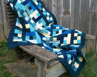 Blue Yellow Quilt Handmade Quilted Indigo Teal Jinny Beyer Quiltsy Handmade FREE U.S. Shipping