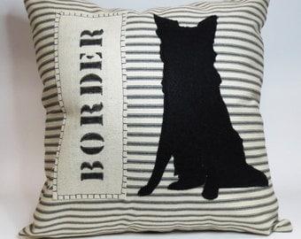 Border Collie Felt Pillow - Decorative Cushion Cover, Border Collie Silhouette Pillow, Ticking Stripe Dog Pillow, Black Stripe Pillow