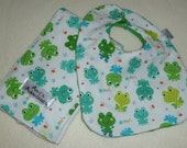 Froggie Super Soft Baby Bib and Burp Cloth Set