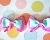 Double Layer Pink & Aqua Polka Dot No Slip Set Of Bows