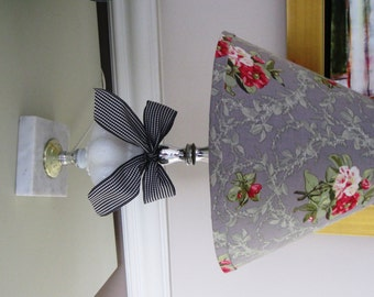 French Country Floral Lamp Shade with Vintage Lamp Base