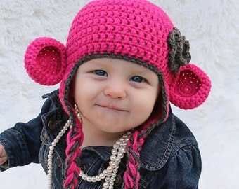 Bright Pink Monkey Hat with Grey Trim and Flower- Choose your size