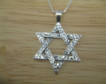 Large Star of David Necklace, Silver Star Necklace, Classic Star of David, Unisex Large Star of David Pendant Necklace, Mens Star of David