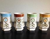 Vintage Set of 4 Ceramic Mugs 1960s Multi-Colored