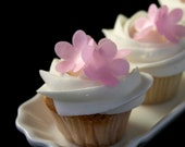 30 Wafer Classic 5-petal Flowers in PINK, Lavender,  Blue, Yellow, Lime-Green colors, Wafer Paper