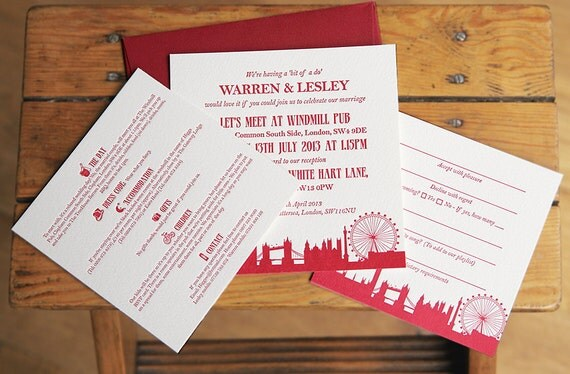 Items similar to 50 x london skyline letterpress wedding items similar to 50 x london skyline letterpress wedding invitation suite on etsy stopboris Images