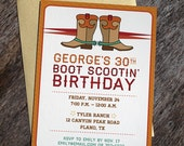 Printable Western Cowboy Boots Invitation