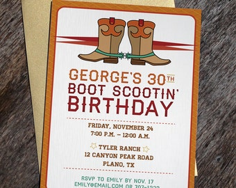 Printable Western Cowboy Boots Invitation
