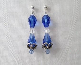 Cobalt Blue Crystal Teardrop Earrings Dangle Clear Bicones Light Sapphire
