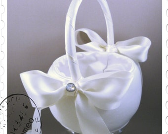 5th Avenue Flower Girl Basket with Double Bow shown in White - Choose Accent Colors To Match Your Ceremony.