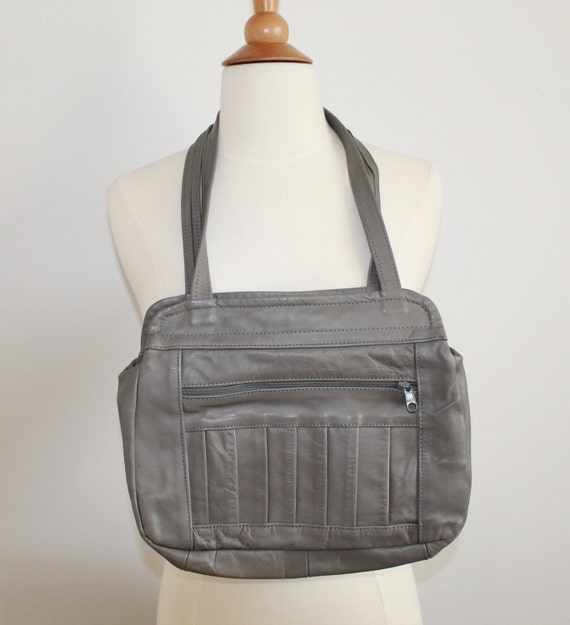 SALE Small Gray Leather Portfolio Bag Purse GREAT FOR iPADs