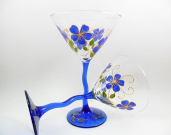 Martini Glasses Cobalt Blue Flowers Gold Hand Painted Set of 2