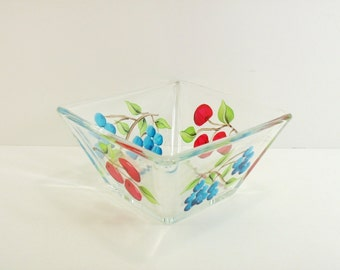Dip Bowl Square Hand Painted Fruit Cherries Blueberries