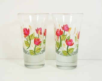 Hand Painted Shot Glasses Hand Painted Red Roses 2 Glasses