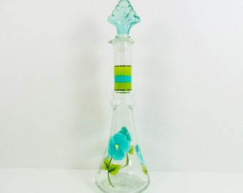 Olive Oil Bottle Aqua Blue Hibiscus Hand Painted Flowers