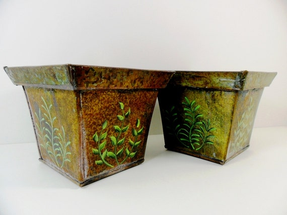 Planter Hand Painted Ferns Verde Rust