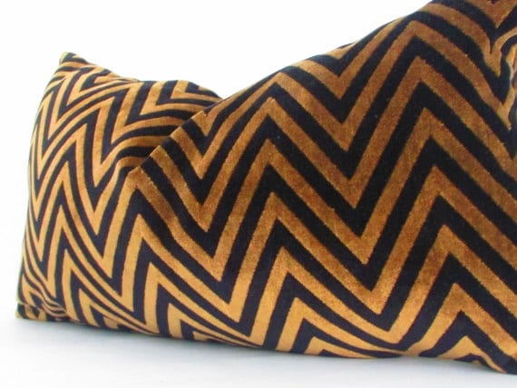 Black And Gold Pillow Cover Chevron Pillow Covers Velvet