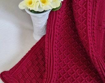 Burgundy Aran Afghan / new / handmade / throw blanket / decorative / thick / soft / diamonds / textured / unique / elegant / warm / rich