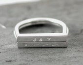 D Ring-Custom Message Morse Code Rectangle Bar Stacking Ring- Personalized Recycled Silver Ring By Pale Fish NY, R057