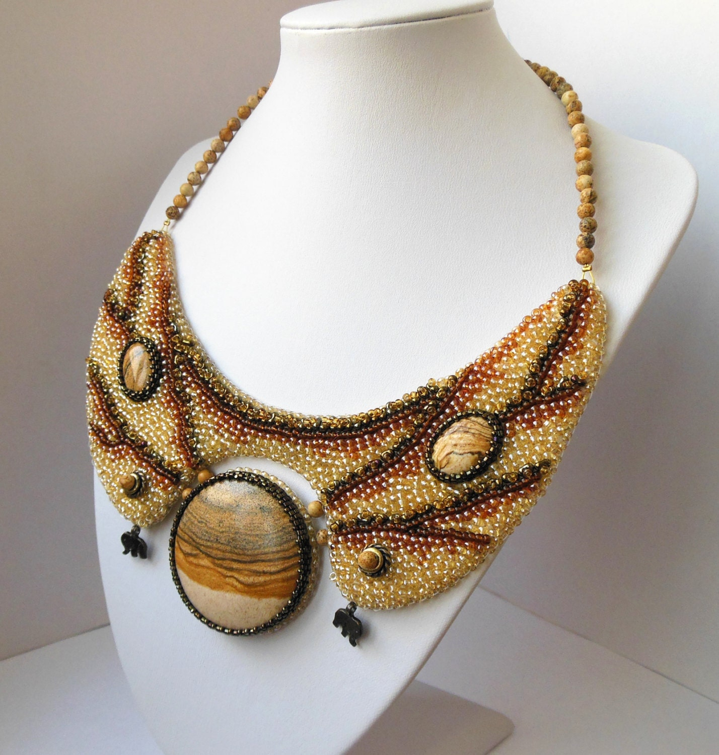 Necklace Beads: Boho Beaded Embroidery Beads Collar Brown Necklace Jasper Set