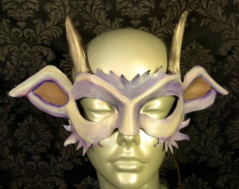 Goat / Pan Leather Mask (Whites and Purple)