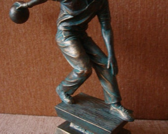 Vintage 70s Home Decor Figure Metal Bronze Color Bowler Man With The Ball