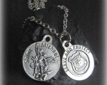 Catholic Saint Michael Medal Necklace for Police Officers - Reversible - Stainless Steel Chain