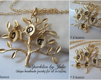 GOLD Family Tree Necklace - Gold Plated Tree Pendant, Hand Stamped Initial Leaf Charms, Up to 5 Initials, Mother or Grandmother Jewelry