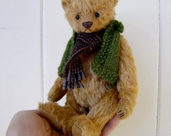"Jasper PDF Pattern 7"" Teddy Bear including knitted vest instructions from Aerlinn Bears"