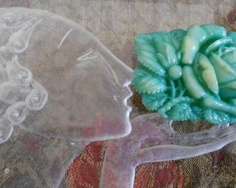 1930's Turquoise Green Floral Dress Clip