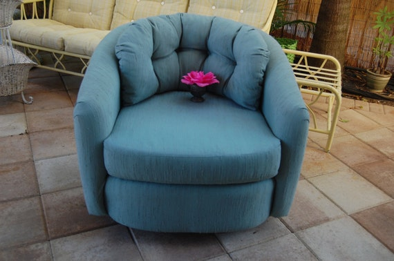 Vintage Turquoise Teal Swivel Chair Milo Style At Retro Daisy