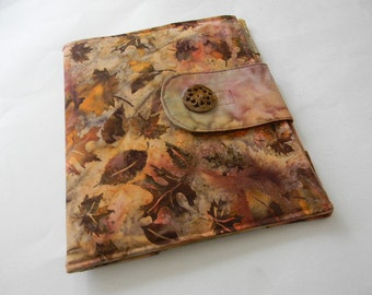 Brown and Copper Leaves Batik iPad Cover