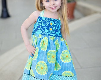 Girls Halter Dress,Girls Summer Dress,Toddler Halter Dress,Girls Clothing,Dress,Size 5T Ready to Ship,Blue,Gold,Yellow, Maize, Beach Dress