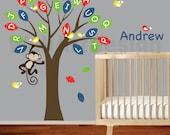 Vinyl wall decal ABC Alphabet tree with pattern leaves,custom name,birds,monkey