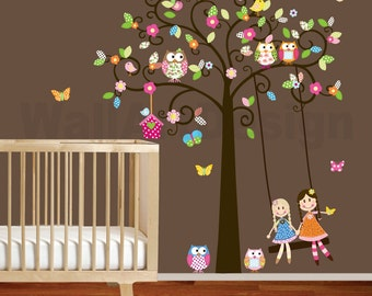 Vinyl Wall Decal Stickers Swirl Swing Tree Set with flowers,dolls,owls and birds Nursery Girls Baby