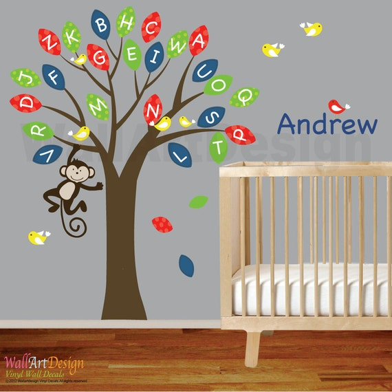Items similar to Vinyl wall decal ABC Alphabet tree with pattern  leaves,custom name,birds,monkey on Etsy