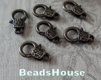 12pcs High Quality Antique Bronze Plated Lobster Clasp,10x 15 mm