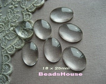 12pcs Clear Glass Oval Cabochon (18 x25 mm)
