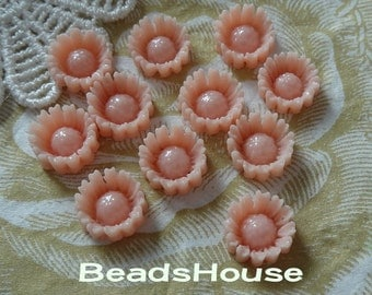 625-00-CA  8pcs Beautiful Sunflower Resin Cabochon,10mm - Peach Pink