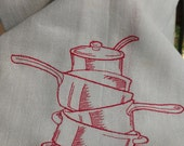 Red Stripes Kitchen Dish Towel Embroidered With Cooking Pots and Pans