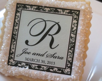 Wedding Favors Custom Shortbread Cookies Damask and Aqua