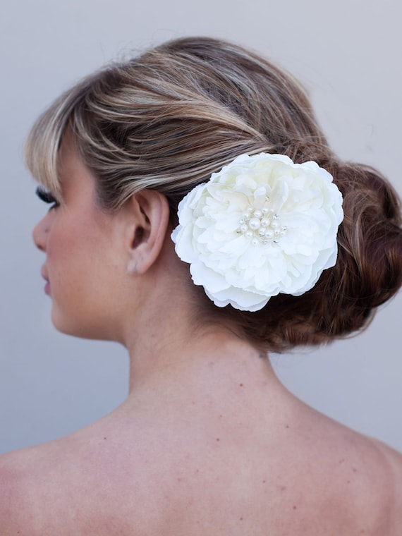 Ophelia - Beaded Peony Bridal Hair Flower
