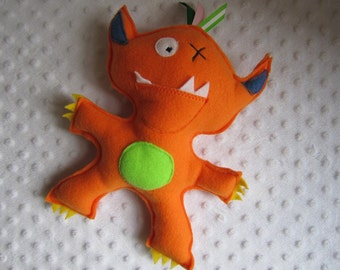Tooth fairy orange monster pocket pillow
